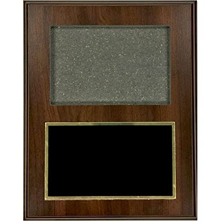 Customizable 7 x 9 Inch Walnut Finished Photo Plaque with Black Brass Plate, Includes Personalization