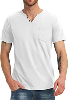 NITAGUT Men's Casual Slim Fit Short Sleeve Pocket T-Shirts Cotton V Neck Tops