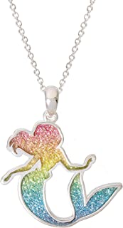 """Princess Little Mermaid Jewelry for Women and Girls, Ariel Rainbow Glitter Silver Plated Pendant Necklace, 18"""" Chain"""