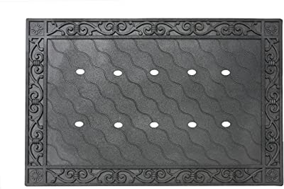 """Toland Home Garden 850100 Recycled Rubber Holder Doormat Tray, 24"""" x 36"""", Black"""