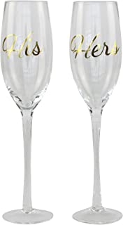 Top Shelf Decorative Gold His and Hers Champagne Glasses, Bride and Groom Champagne Flutes, Thoughtful Wedding Gift for Newlyweds, Set of 2