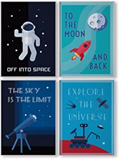 Pillow & Toast Kids Bedroom Wall Decor, Space Posters for...