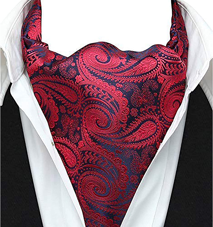 HISDERN Mens Cravat Tie Paisley Floral Casual Ascot Necktie Scarf Wedding Party