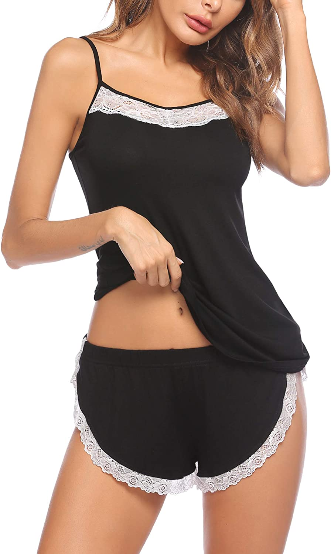 Ekouaer Sleepwear Women Pajamas Set Lace Camisole Short Sets Cami PJS Set with Short Sexy Sleepwear