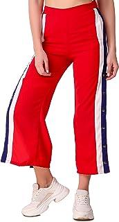 Fasnoya Women Side Button Striped Pants