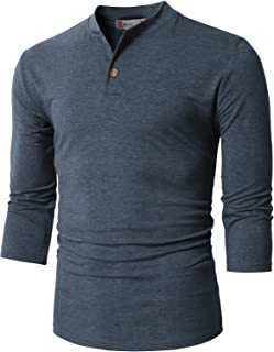 H2H Mens Casual Premium Slim Fit Henley Shirts Lightweight Thin Fabric and Various Styles