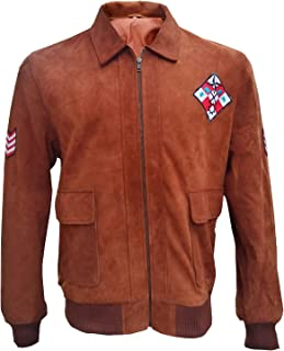 Tiger Patch Brown Suede Leather Bomber Jacket - Classic Video Game Character Jacket