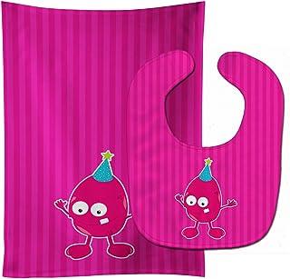 Caroline's Treasures Birthday Monster Pink Baby Bib & Burp Cloth, Multicolor, Large