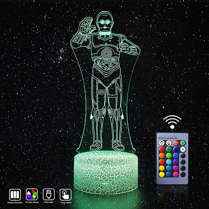 Star Wars Lights 3D LED Mood Night Light Remote Control and 16 Colors Display Nursery Lamps Novelty Best Xmas Bday Thanksgiving Party Gift Ideas for Kids Teen SW Fans (C-3PO(Remote))