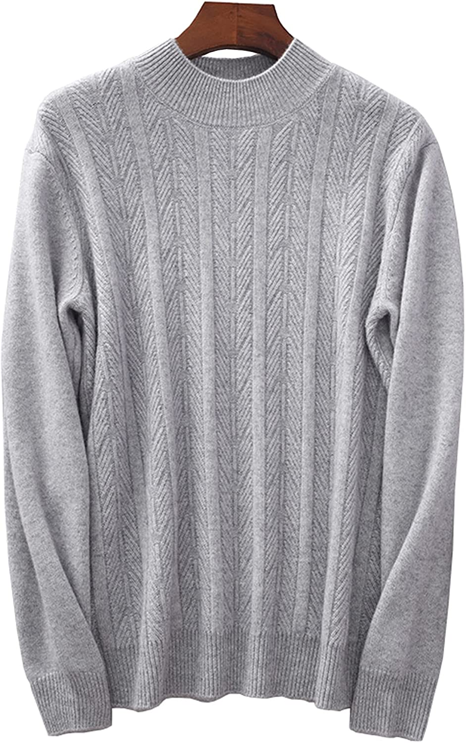 Men's Crewneck Cashmere Sweater Solid Color Twist Thicken Casual Large Size Pullover Daily