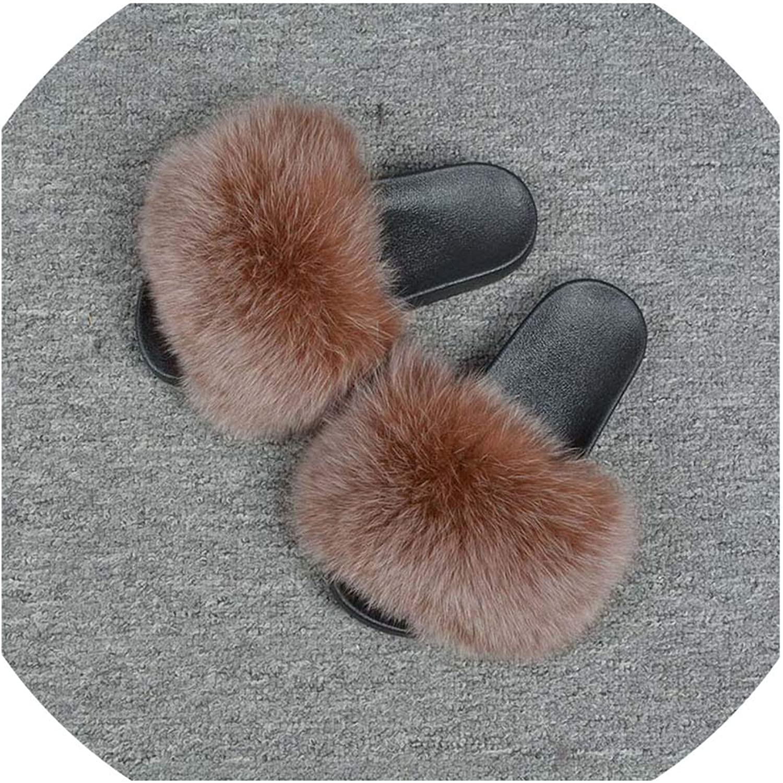 2019 Women's Real Fox Fur Slides Spring Summer Fluffy Fur Slipper