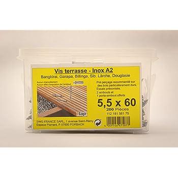 5x70 Lot 200 Vis Terrasse INOX A2 Bois Dur Exotique GAMME PRO 5x50 5x60 5x70