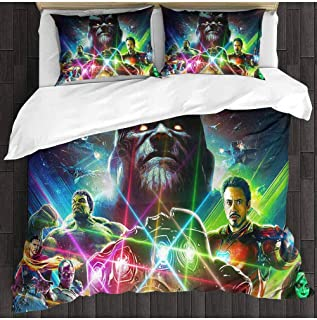 3 Piece Brushed Microfiber Bed Sheets Set Thanos Infinity Stones Infinity Gauntlet Avengers Infinity war Iron Man Hulk Gamora Vision Doctor Strange Twin XL Bed Sheets and Comforter Set