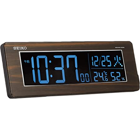セイコー クロック 目覚まし時計 電波 デジタル 交流式 カラー液晶 シリーズC3 ブラウン 木目 DL210B SEIKO