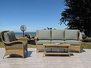 Havana Natural Outdoor Patio Furniture Resin Wicker Fully Assembled 3PC Sofa Set Made in USA Sunbrella Cushion (choice of 12 fabrics)