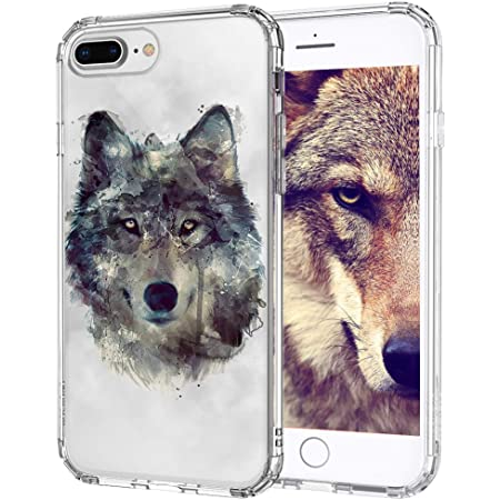 MOSNOVO Wolf Pattern Designed for iPhone 8 Plus Case/iPhone 7 Plus Case - Clear