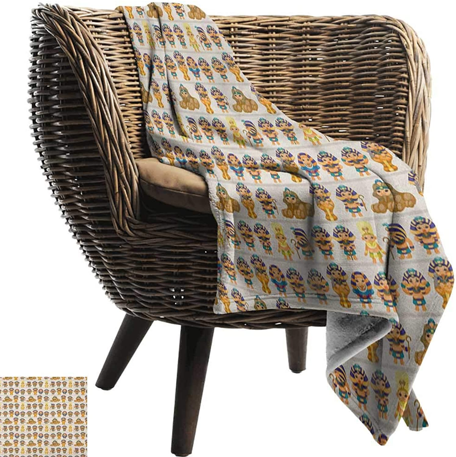 Sunnyhome Egyptian,Warm Microfiber All Season Blanket,Cute Kids Design with Egyptian Cartoon Ancient Figures King Queen Myth Pattern 60 x50 ,Super Soft and Comfortable,Suitable for Sofas,Chairs,beds
