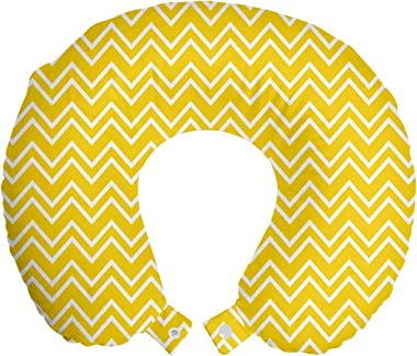 "Ambesonne Yellow Travel Pillow Neck Rest, Zig Zag Chevron Pattern in Yellow and White Colors Modern Inspired Art Print, Memory Foam Traveling Accessory for Airplane and Car, 12"", Yellow and White"