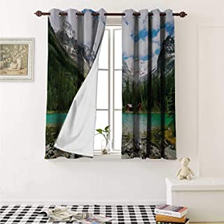 shenglv Landscape Decorative Curtains for Living Room Canada Ohara Lake Yoho National Park with Mountains Nature Scenery Art Photo Curtains Kids Room W72 x L72 Inch Multicolor