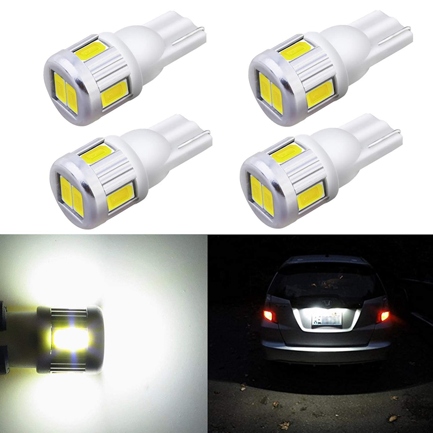 Alla Lighting 4x T10 168 194 LED White Bulbs Super Bright Samsung 5630 SMD T10 Wedge 175 2825 W5W 194 168 LED Bulbs for Interior Map Dome Trunk Exterior License Plate Marker Lights, 6000K Xenon White
