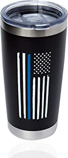 Thin Blue Line Tumbler, Large 20oz Travel Tumbler/Mug with Lid for Coffee cup and all drinks - Support Gifts for Law Enforcement, Police Academy Graduation, Officer, Cops, Blue Lives Matter