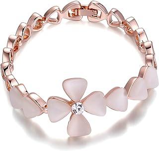 Pulsera de Mujer Aleación Trébol rosa con cristal para mujeres y niñas Regalo de Brazalete