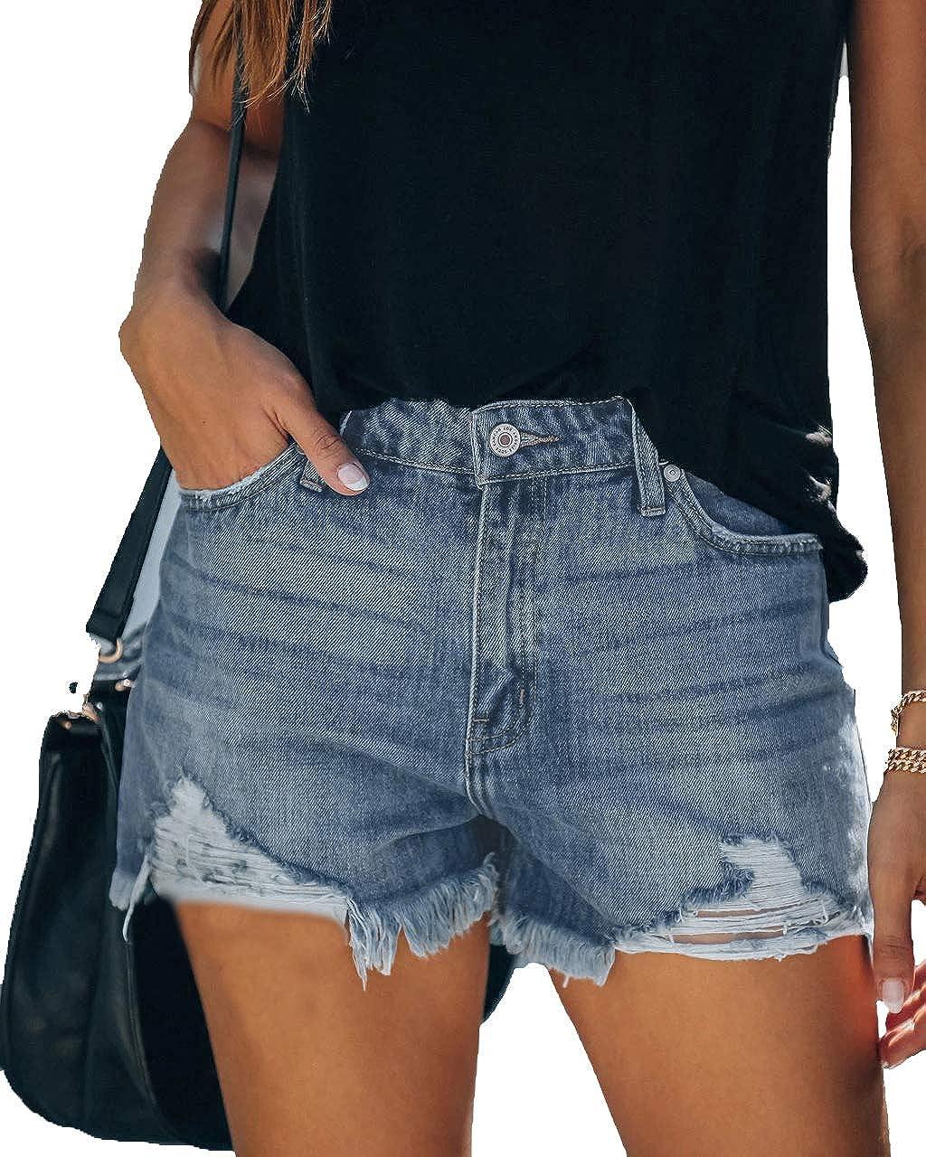 Seyorz Denim Fresno Mall Hot Shorts for Women Rise High Stretch Mid Shaping Purchase