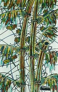 元バティックアートペイントonコットン生地、' Bamboo ' by m. Yono (45cm X 75cm)