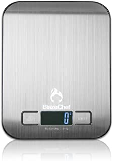 BlazeChef Kitchen Scale – Digital Food Scale – 5Kg Capacity Scale for Baking, Cooking & Dieting– Premium Stainless Steel –...