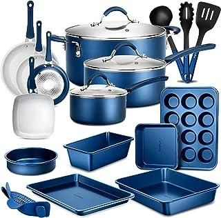 NutriChef 20-Piece Nonstick Kitchen PTFE/PFOA/PFOS-Free Heat Resistant Silicone Handles Cookware Bakeware Set w/Saucepan, ...
