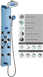 """Blue Ocean 52"""" Stainless Steel SPS392H-L Shower Panel with Rainfall Shower Head, 8 Adjustable Nozzles, and Spout"""