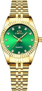 RORIOS Ladies Watch Analogue Quartz Watch Simulated Diamond Luminous Dial Stainless Steel Strap Women Watch Wristwatch