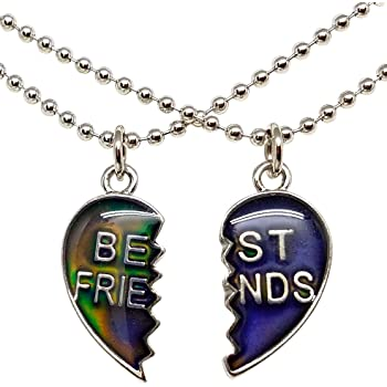 Amazon.com: Cool Jewels Mood Best Friend Heart Necklaces ...