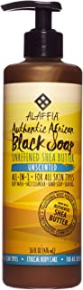 Alaffia, Authentic African Black Soap Liquid, All-in-One Body Wash for All Skin Types, Unscented, Ethically Traded, Non-GMO, 16 oz