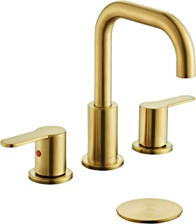TimeArrow TAF830E-PB 2 Handle 8 inch Widespread Bathroom Sink Faucet with Pop-Up Drain, Brushed Gold