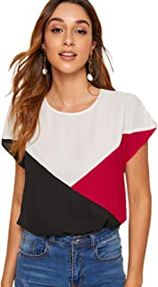 Romwe Women's Colorblock Batwing Sleeve Keyhole Round Neck Tee Shirt Blouse Top Multicolor#3 X-Small