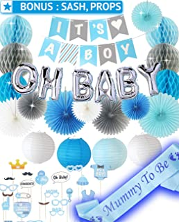 PGNART Baby Shower Decorations for Boy Kit 58 PIECES | It's A BOY Banner | OH BABY Balloon | Mom To Be Sash | Photo Props | Garland Bunting Banner | Paper Lanterns | Honeycomb Balls | Tissue Paper Fan