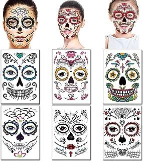 Halloween Face Tattoos Day of the Dead Stickers Sugar Skull s for Women Men Kids Face Makeup Kit Floral Skeleton Mask Tatt...