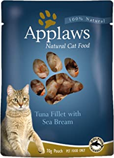 Applaws Tuna Fillet with Sea Bream Natural Wet Cat Food in Broth - 70 g pouches, complementary food for adult cats, pack o...