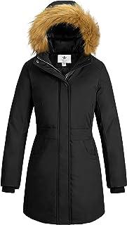WenVen Women`s Winter Cotton Waterproof Jacket Parka Coat with Removable Hood