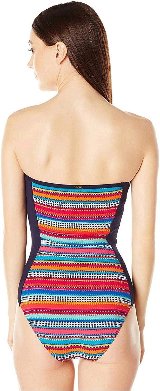 Anne Cole Women's Triangle Stripe Bandeau One Piece Swimsuit