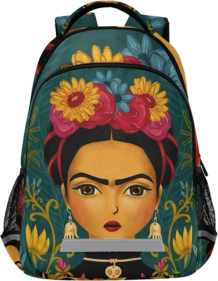 Frida Kahlo Mexico Art Big Student Backpack - 15-inch Laptop School Pack?Schoolbag Compartment Daypack for Business Travel with Multiple Pockets