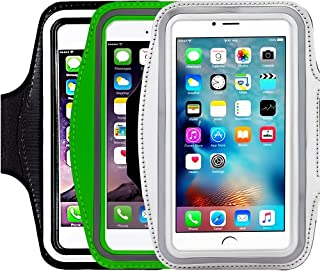 [3 Pack]Running Armband,CaseHQ Sports Water Resistant with Key Holder Pouch Fit iPhone 7 6 6s Plus(5.5-Inch) Samsung Galaxy S7 S6/S5, Note 4/3 ,Bundle with Screen Protector