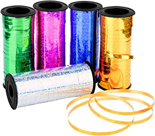 BTSD-home 5 Pieces Metallic Curling Ribbons Balloon Ribbon for Christmas Party Decoration and Gift Wrapping, 5 Colors and 500 Yards Totally