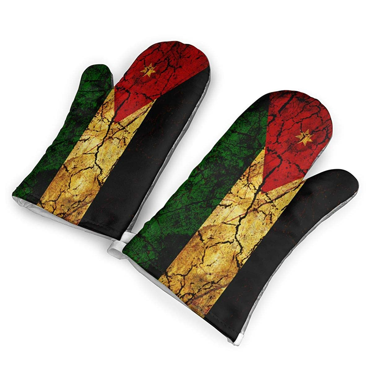 TRENDCAT Vintage Jordan Flag Oven Mitts/Gloves - Heat Resistant Handle Hot Oven/Cooking Items Safely - Soft Insulated Deep Pockets Pack of 2 Mitts