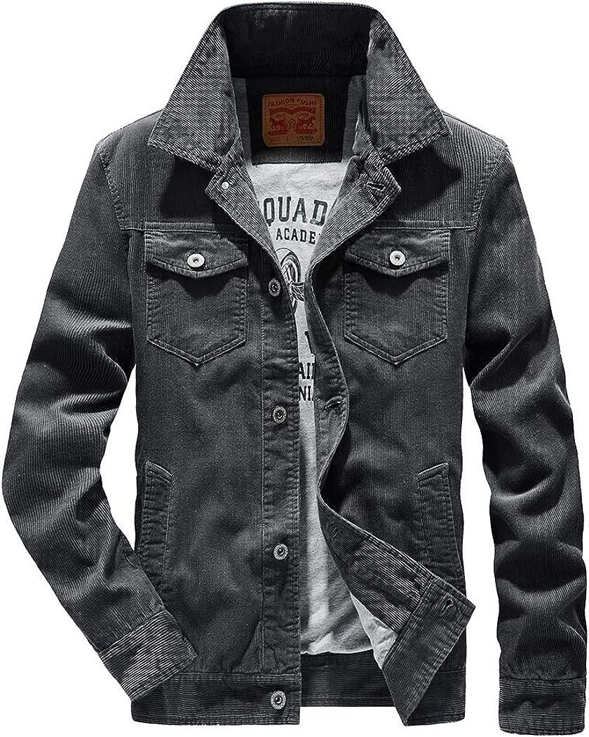 Snowman Lee Men's Corduroy Sherpa Jacket Slim Fit Button-Front Fleece Denim Trucker Jacket