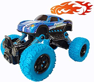 Yileqi Metal Monster Trucks for Boys with Big Wheel, 4WD Die-cast Pull Back Cars, Friction Powered Vehicles Toys for Toddl...