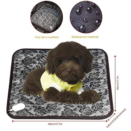 BYBO Electric Heated Bed Warming Pad Outdoor Pet Heating Bed Warmer For Dog House Heater Cat Puppy Animal Kitten Indoor Waterproof Adjustable Pet Mat With UK Plug, 45 * 45 CM