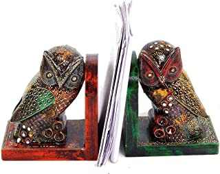 Handpainted Wooden Owl Shaped Bookends