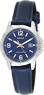ساعة جلد دائرية انالوج بعقارب ومينا ازرق بإطار تاكيميتر للنساء من كاسيو LTP-V004L-2BUDF - ازرق